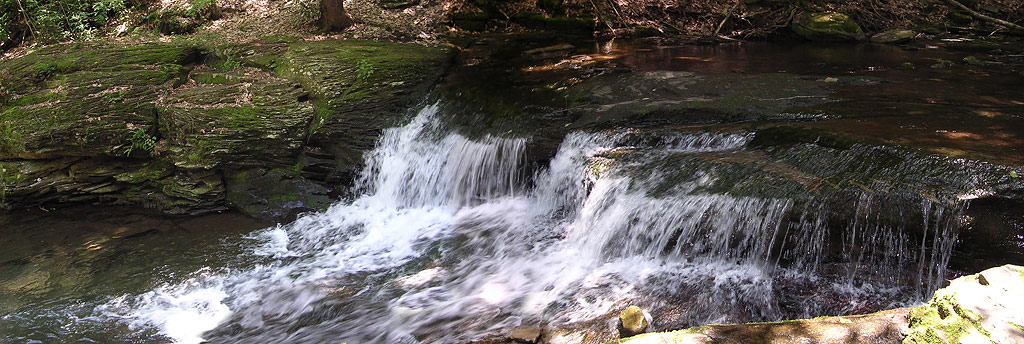 A waterfall on the way to camp on Wykoff Run Road. This is 3 images I stitched together.