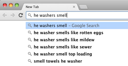 HE washers smell suggested results in Google