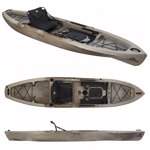 Ascend 12T Sit-On-Top Kayak - Top and side views