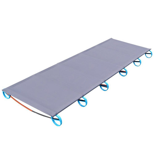 Gray camping cot with light blue feet