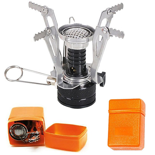 Gas Camping Stove and orange storage container