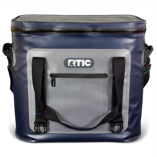 RTIC 40 Soft Pack Cooler - Gray and black cooler with straps