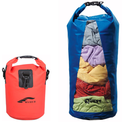 Small red Ryder dry bagand large Quest dry bag with transparent window